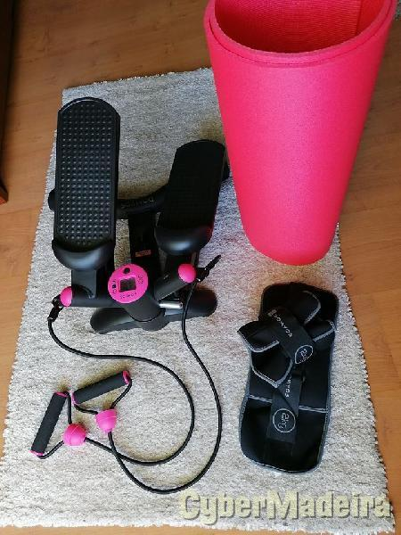 Stepper + halteres + tapete fitness