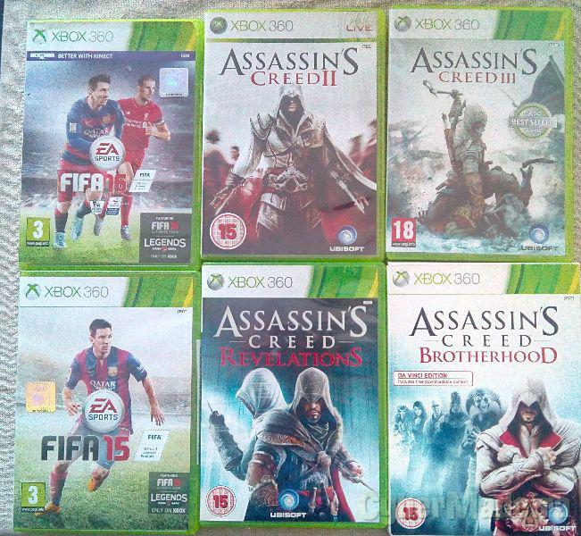 Fifa 16,ASSASSINS creed ii,  iii, brotherhood E revelations Outros